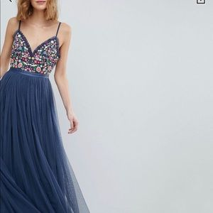Needle and thread long blue dress